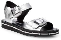Charles David Metallic Leather Strap Sandals