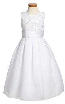 Joan Calabrese Girl's For Mon Cheri Sleeveless First Communion Dress