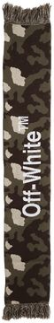 Off-White Camo Peace Stitched Scarf W/ Fringe