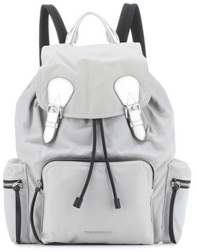 Burberry The Large leather-trimmed backpack - GREY - STYLE