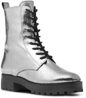 Michael Kors Women's Gita Crackled Metallic Leather Combat Booties