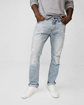 Express Slim Light Wash Ripped 100% Cotton Jeans