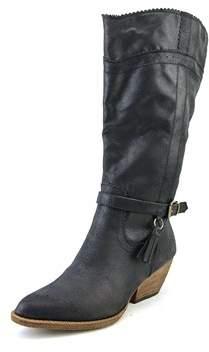 XOXO Izzy Pointed Toe Canvas Mid Calf Boot.