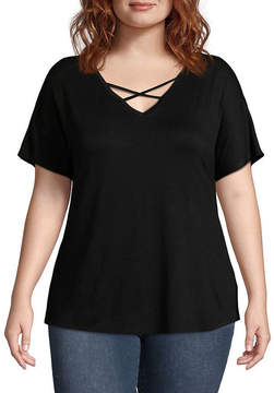 Boutique + + Short Sleeve V Neck T-Shirt - Plus
