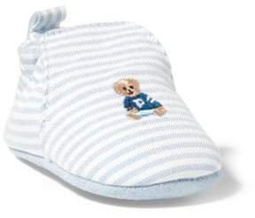 Ralph Lauren Percie Striped Slip-On Shoe Blue Stripe W/Bear 0 (0-6 Wks)