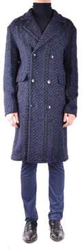 Hosio Men's Blue Wool Coat.