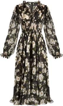 Dolce & Gabbana Floral-print ruffle-trimmed chiffon dress