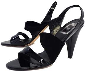 Christian Dior Black Patent Leather & Suede Sandal Heels