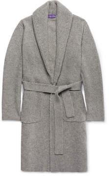 Ralph Lauren Purple Label Shawl-Collar Ribbed Cashmere Belted Cardigan