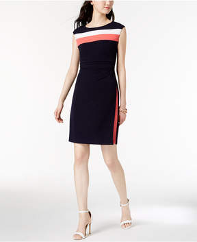Connected Petite Ruched Cap-Sleeve Dress