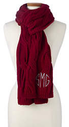 Lands' End Women's Braided Cable Knit Scarf-Garnet