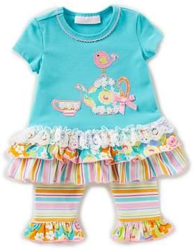 Bonnie Jean Bonnie Baby Baby Girls Newborn-24 Months Teapot-Applique Drop-Waist Dress & Striped Leggings Set