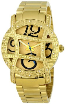 JBW Olympia Gold Sunray Dial Gold-Plated Stainless Steel Diamond Ladies Watch