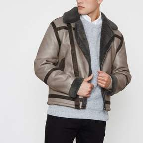 River Island Mens Grey faux shearling oversized biker jacket
