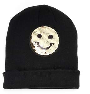 Mudd Winking Smiley Face Reversible Sequin Beanie