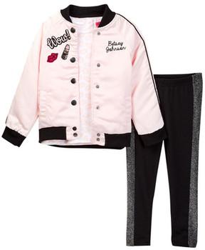Betsey Johnson Lip Print Tee, Satin Bomber & Sparkle Trim Legging Set (Toddler Girls)