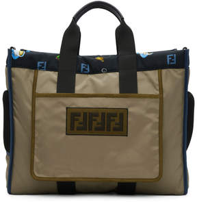 Fendi Reversible Brown and Blue Multi Print Forever Tote