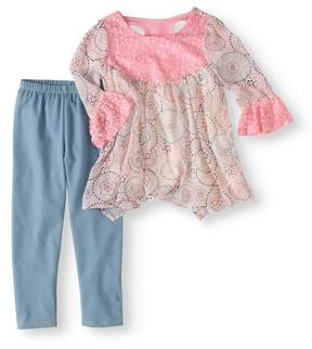 Nannette Little Girls 4-6X Chiffon and Lace Top and Legging 2-Piece Outfit Set