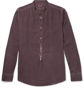 Massimo Alba Grandad-Collar Garment-Washed Modal And Cotton-Blend Shirt