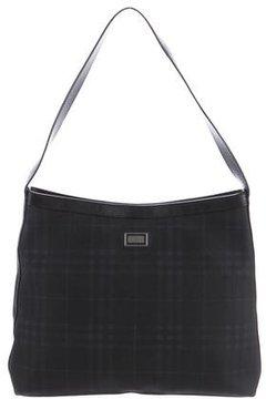 Burberry Check Suede Shoulder Bag - BLUE - STYLE