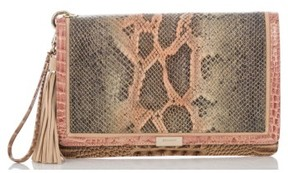 Brahmin Embossed Leather Clutch - Pink