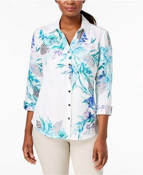 JM Collection Printed Linen Shirt, Created for Macy's