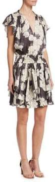 Halston Printed Flounce-Sleeve Sheath Dress
