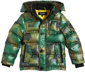 Diesel Camo Print Nylon Hooded Down Jacket