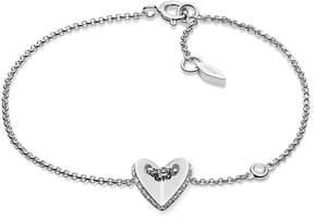 Fossil Sterling Silver Folded Heart Bracelet