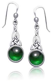Celtic Bling Jewelry Knot Simulated Emerald Glass Sterling Silver Drop Earrings.