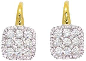 Frederic Sage Diamond Medium Firenze Cushion Earrings in 18K Yellow & White Gold