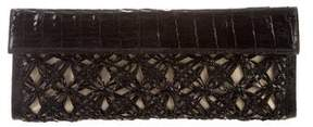 Nancy Gonzalez Woven Crocodile & Straw Clutch