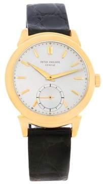 Patek Philippe Calatrava 1491 18K Yellow Gold & Leather Vintage 34mm Mens Watch