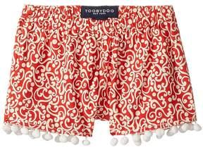 Toobydoo Red & White Pom Pom Shorts (Toddler/Little Kids/Big Kids)