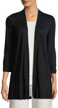Joan Vass Tiered-Hem Open-Front Knit