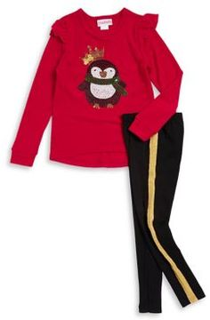 Flapdoodles Little Girl's Two-Piece Penguin Sweater and Pants Set