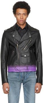 Maison Margiela Black and Purple Sprayed Leather Jacket