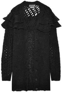 Moschino Oversized Ruffled Knitted Cardigan - Black