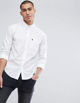 Abercrombie & Fitch Button Down Collar Slim Fit Poplin Shirt Moose Logo in White