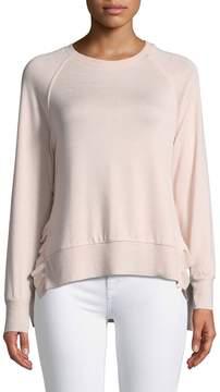 Dex Ruffle-Hem Raglan-Sleeve Sweater