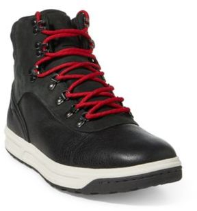 Ralph Lauren Alpine 100 Leather Sneaker Black/Charcoal 12