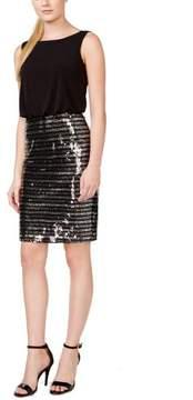 Calvin Klein Women's Sequined V-Neck Jersey Blouson Dress