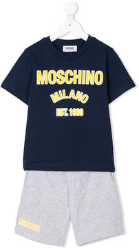 Moschino Kids logo print T-shirt and shorts set