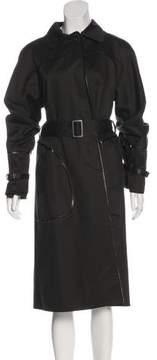 Bottega Veneta Leather-Trimmed Trench Coat