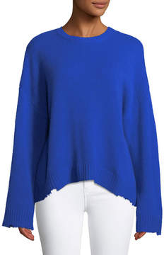 RtA Emmet Crewneck Long-Sleeve Boxy Cashmere Sweater