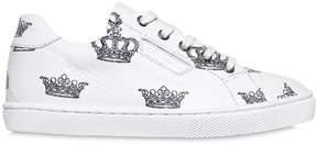 Crown Printed Leather Sneakers