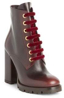 Prada Lug Sole Leather Lace-Up Booties