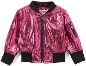 Urban Republic Magenta Metallic Crackle Bomber Jacket - Infant & Girls