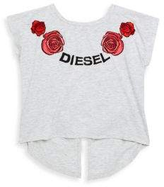 Diesel Girl's Embroidered Cut-Out Dolman-Sleeve Top