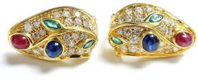 David Webb 18k Yellow White Gold Diamond Sapphire Ruby Emerald Earrings